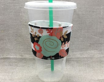 Reusable Fabric Coffee Sleeve - Quilted Coffee Sleeve