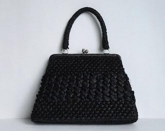 Black 60s Vegan Bast Vintage Hand Bag With Silver Closure // Designed By Mr. Jonas // Made In Japan