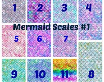 Mermaid Scales #1 Adhesive 651 Vinyl, HTV or Glitter HTV Prints.  Decals HTV. Adhesive