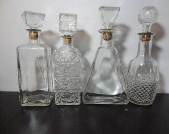 Vintage Clear Glass Liquor or Wine Decanters - Set of 4 - Mid Century Modern Barware