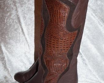 SALAMANDER 80s Slouch Boots Vintage Leather UK4