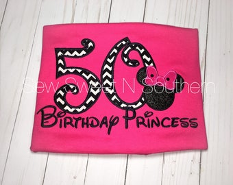 50th Birthday princess embroidered Minnie Mouse shirt, pink disney vacation birthday shirt.
