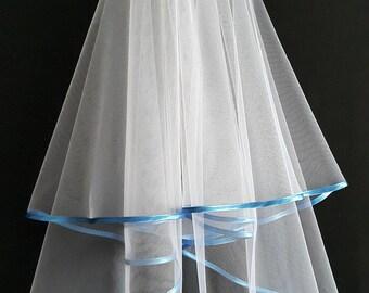 White Wedding Veil, Two Layers, Riverside Blue Colour Satin Edging.