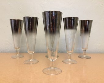 Six Silver Ombre Footed Pilsner / Parfait Glasses