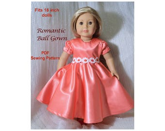 Ball Gown Dress, 18 inch Doll Clothes pattern, PDF  Sewing Pattern fits most 18 inch dolls, American Girl doll clothes patterns, dress, 18