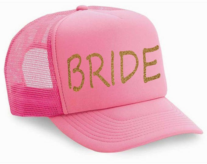 pink and gold glitter Bride Hat - bachelorette hats - bachelorette party favors- Bridesmaid trucker hats - bachelorette party hats -
