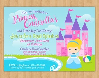 Princess Cinderella Pool Party Birthday Invitation