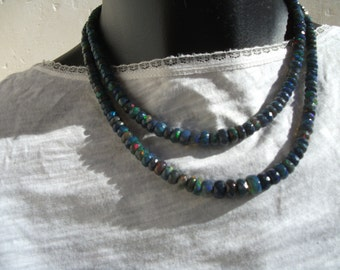 Necklace with blue Ethiopian Fire opals: AAA.