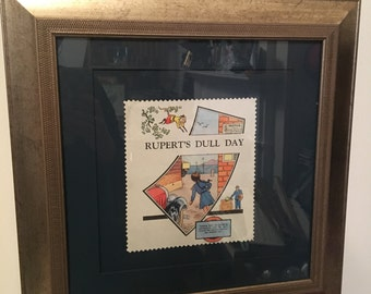 Rupert the Bear framed Vintage art