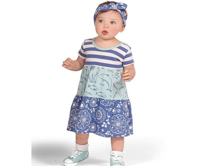 SUMMER SPECIAL! Baby Girl Summer Outfit, Baby Girl Summer Dress, Baby Girl Blue Dress, Baby Girl Bandana Green Dress, Baby Girl DR780BIUS000
