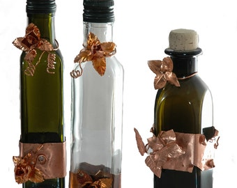 Set 3 oil and vinegar bottles handmade decorated with copper