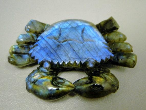 Crab labradorite carving iridescent carved gemstone animal