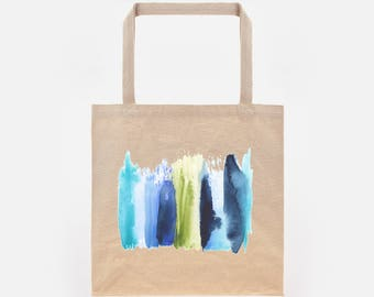 Watercolour Abstract Stripe 1 Print on Natural Canvas Tote Bag