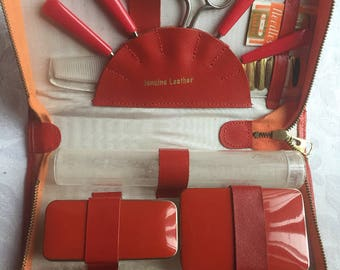 Vintage Red Leather Toiletries Case