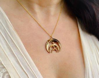 Collier croissants dorés - Collier 3 lunes dorées - Collier chaîne pendentif 3 croissants - Collier boho chic - Collier minimaliste