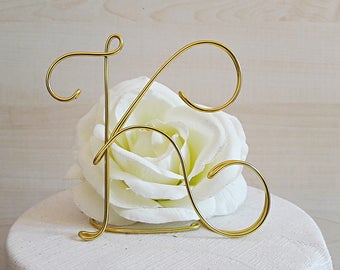 Custom initial cake topper, monogram wedding topper, letter cake topper, wire initial cake topper, baptism, first communion, birthday