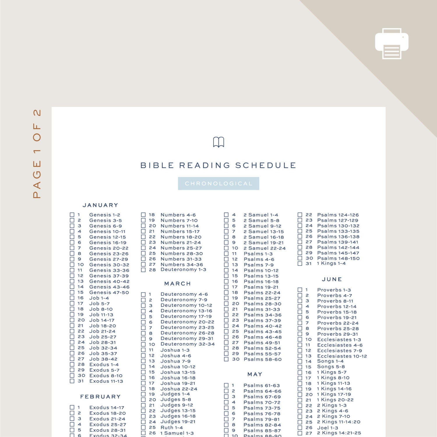 It is a picture of Terrible Read the Bible in a Year Chronological Printable