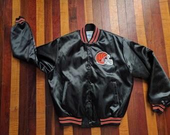 Vintage 80s 90s Chalk Line Satin Jacket Cincinnati Bengals Large Black Orange