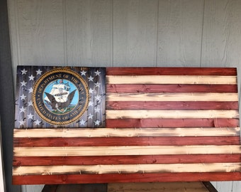Deluxe Rustic American Flag with Navy Emblem