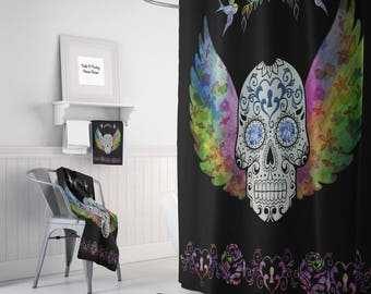 Sugar Skull Shower Curtain Angel Wings , Day Of The Dead, Optional Bath Mat, Bath Towels
