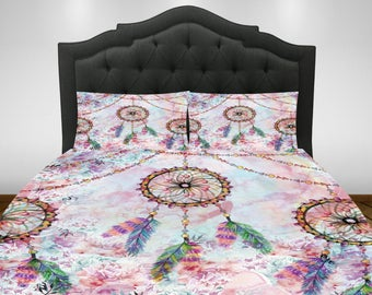 Dream Catcher  Comforter or Duvet Cover Set  Twin, Full, Queen King Bedding Dreamcatchers Floral Boho Chic Pastel