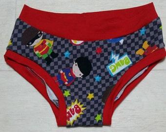 3-4y Superhero Print Kids 'Happy Pants' handmade underwear age 3-4y girls boys