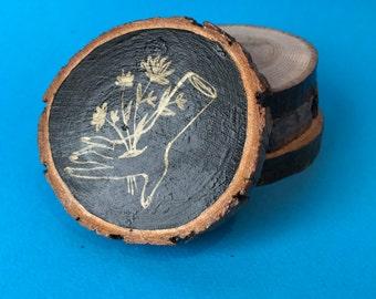 Flower Stabbing, Hand Illustrated Wooden Coaster
