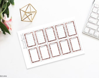 Rose Gold Glitter | Clipboard boxes | Printable Planner Stickers | Happy Planner
