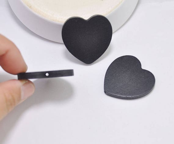 12pcs Black heart wood beads, Painted wooden heart beads ...