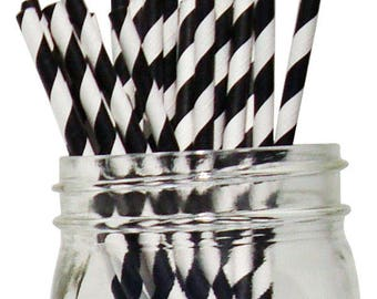 Big Pack 80 Black Stripe Paper Drinking Straws - Wedding - Birthday - Cookies And Milk Party - Celebration & Party Supplies