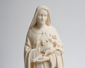 statue of Therese of Lisieux, vintage French chalkware by Pieraccini, vintage French religious decor,  Christian Art, Catholic sculpture