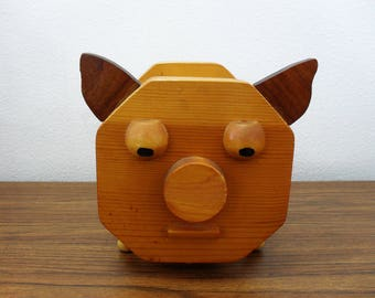 Vintage Solid Wood Piggy Bank Pig Figurine Collectible