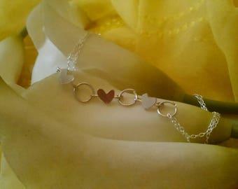 Sterling silver 3 heart bracelet