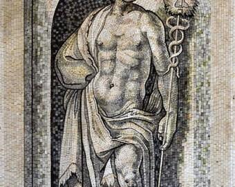 Mercurius God Marble Mosaic