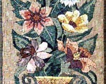 Flower marble mosaic