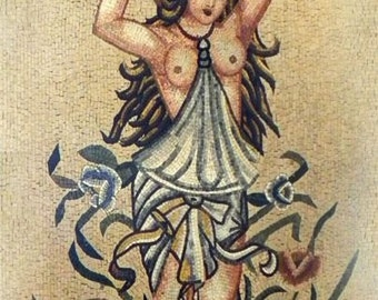 Ancient Scene Woman Mosaic Mural Art