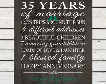 35th anniversary gift print anniversary gift for parents marriage stats marriage love story
