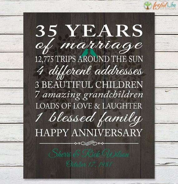 35 Wedding Anniversary Gifts For Parents: 35th ANNIVERSARY GIFT PRINT Anniversary Gift For Parents