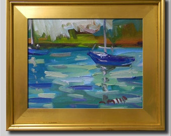 Plein Air Landscape Painting, Impressionist Oil, Seascape, Water Painting, Sailboat Painting, Abstract Boat Painting