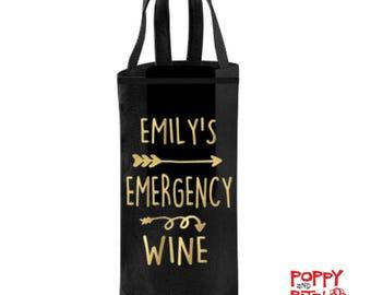 Wine Bottle Bag, Personalized Wine Gift, Emergency Wine Bag, Custom Wine Bag, Wine Carrier Case, Wine Lover Gift For Her,