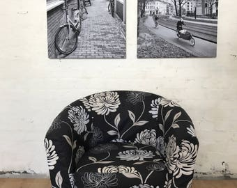 Slip cover to fit Ektorp Tullsta tub chair in beautiful Black and White Floral print cotton fabric