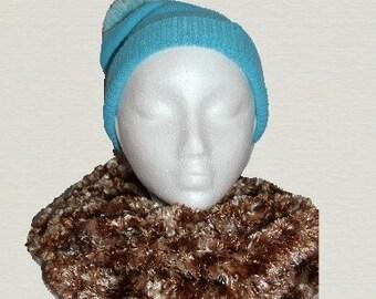 Brown snood, Ladies scarf, Winter scarf, Woman's scarf, button scarf, handknitted scarf, Fashion Scarf, autumn scarf