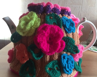 Hand  knitted and crocheted tea cozy cosie floral