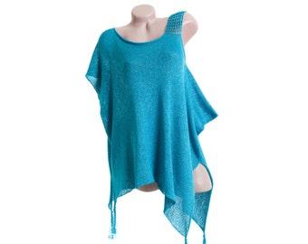 Asymmetric oversized top, Long knit top, Blue top tunic, Oversized asymmetric top, Asymmetric tunic, Long knit tunic, Blue tunic top