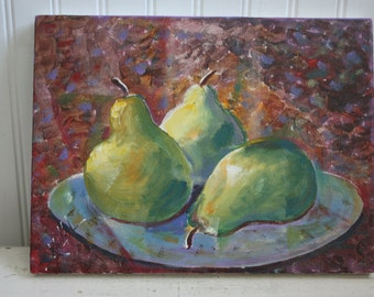 Acrylic Pear Painting, Unframed Acrylic on Canvas Board, Pear Still Life Art, Plate of Green Pears, Unknown Artist, Signed on Back, Pears