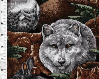 """Wood Haven """"Wolves in the Wild"""" Intriguing Woodland Animals Fabric"""