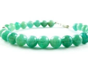 "Pearl bracelet Amazonite and 925 Silver, handmade, more sizes - Handmade in Italy ""NO LOGO Bracelet"""