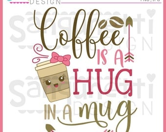 Coffee clipart, coffee lettering, kawaii, kawaii coffee, Instant download