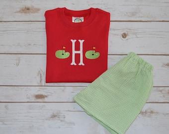 Boy's Initial Golf Green Shirt