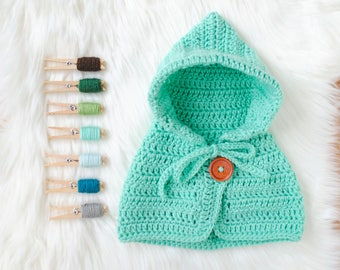 Baby Sweater, Baby Cape, Crochet Baby Coat, Hooded Baby Coat, Blue Baby Cape, Blue Baby Sweater, Aqua Baby Sweater, Newborn Baby Gift, Aqua